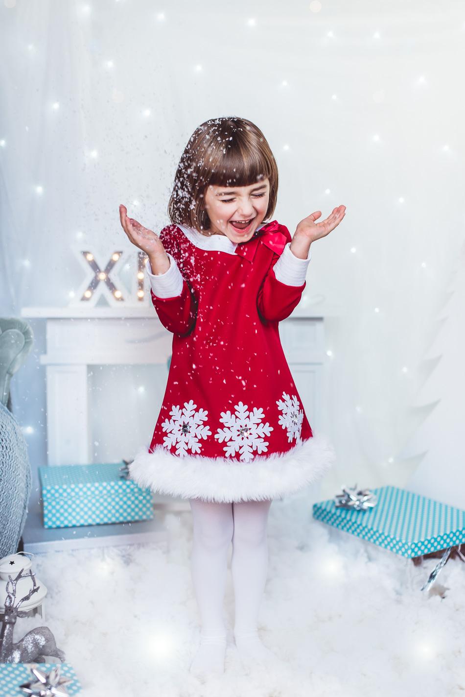 sesja świąteczna mini śnieżynka sztuczny śnieg