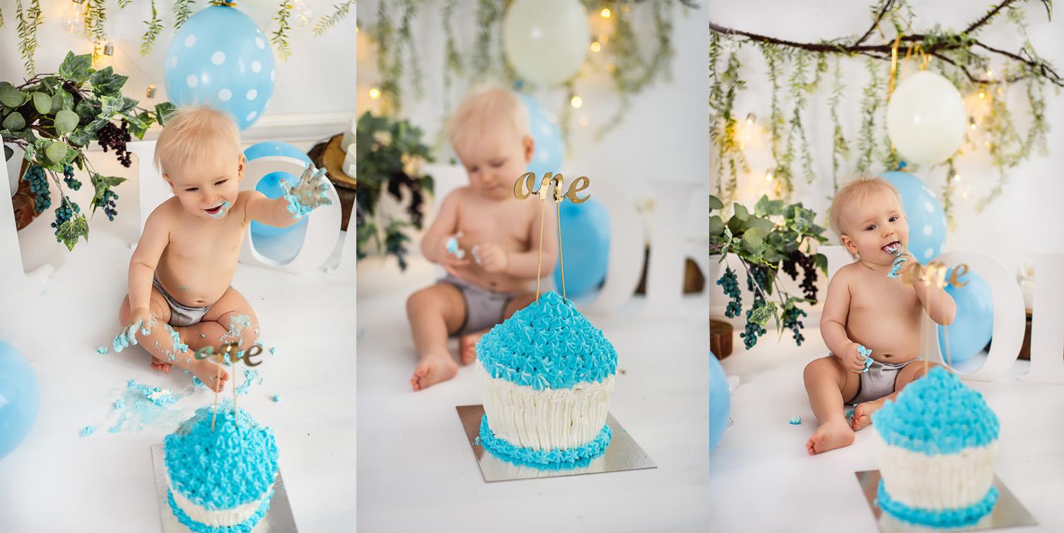 sesja cake smash dla dziecka na roczek