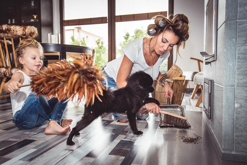 pies pomeranian zabawa z dzieckiem kobieta z wałkami na głowie
