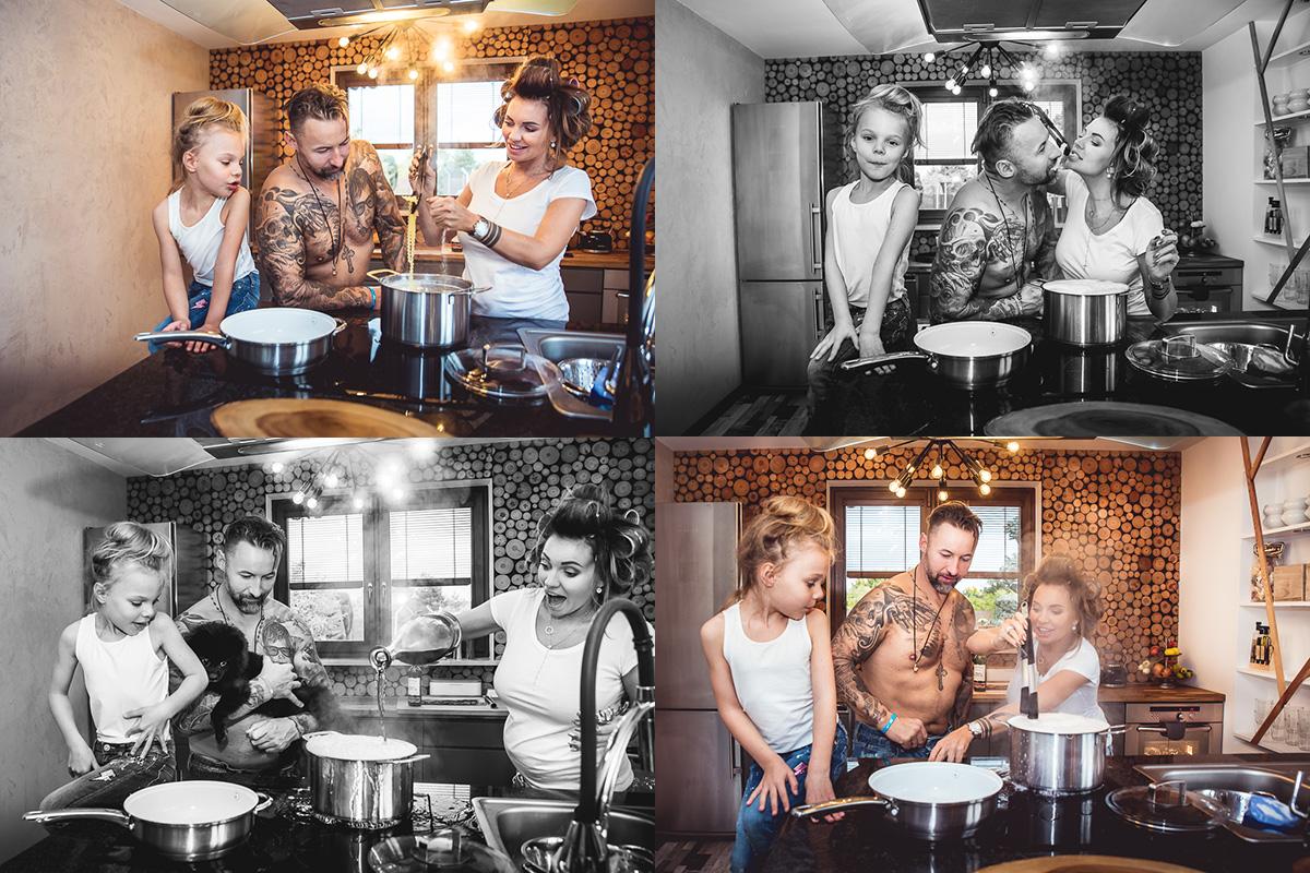 zabawy z dziećmi i mężem designerska kuchnia sesja zdjeciowa Rumia szalona rodzinka Trójmiasto Anita Talaśka