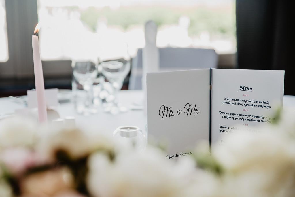 menu ozdoby na stół pary młodej wesele Trójmiasto